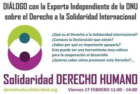 Invitación del evento con la experta independiente de Naciones Unidas sobre el derecho a la solidaridad
