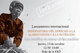 Invitación al Lanzamiento del Observatorio del Derecho a la Alimentación y Nutrición 2016